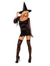 Halloween sexiga svart kort Häxa Kostym